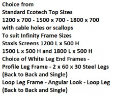 Ecotech   Infinity Back To Back Workstations 1200 X 700, 1500 X 700, 1800 X 700
