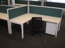 Ecotech Desk And Return Tops. Staxis Screens. Single End Leg Frames. Metal Mobile Pedestal
