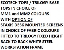 Ecotech Tops On Trilogy Base With Optional Staxis Desk Mounted Screens