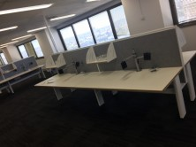 Ecotech Trilogy Workstations. Fixed Height. 500 High Staxis Desk Mounted Screens