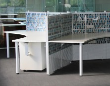 Ecotech 120 Degree Tops, 1350 High Staxis Screens With Round Legs And Desk Brackets