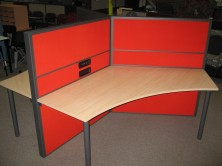 120 Degree Ecotech Tops, Mounted To Screens With Round Legs And Desk Brackets