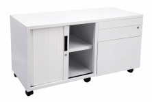 GCAD Metal Mobile Caddy,Quick Delivery, Drawers And Tambour Door, 900 L, White Only, Left Or Right Drs