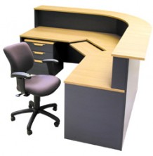 Ecotech Corner Workstation. Curved Counter Top. Panel Front Reception Desk