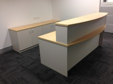 Ecotech Bow Front Reception Desk. 1800 X 900 X 1050 Top. Full Modesty Panel. Bow Front Counter Top. 1800 L X 300 X 450 X 375 H