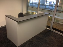 Ecotech   Axis 18 Custom Panel Front Reception Desk. Sizes Made To Order. MM1 And MM2 Colours