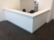 Axis 18 Custom 90 Degree Panel Front 2 Person Reception Desk. Counter Top And Laminate Kick
