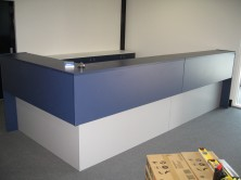 Gable Ended Vinyl Wrapped Counter Top Reception Desk.  Custom Made. Special Sizing