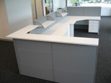 Fabric Covered Screen Panel Reception Desk. Ecotech 90 Degree Workstations And Counter Top