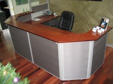 Custom Fabric Screen Front Reception Counter With Ecotech Furniture And Counter Top