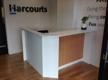 Axis 18 Custom Joinery Reception Desk. 45 Degree Angles With Set Back Modesty Panel