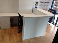 Custom Reception Desk And Counter Top With Attached Return And Mobile Pedestal