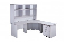 Rapidline Rapid Vibe Corner Workstation 1800 X 600 X 1800 X 600 With 1800 L Hutch Unit And Mobile Drawer Ped