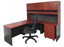 Rapidline Rapid Manager. Corner Workstation 1800 X 600 X 1800 X 600. With 1800 Long Hutch And Mobile Pedestal