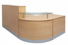Flow Counter Curved Reception Counter With Glass Feature NCT1160. 2400 X 1600 X 800. Beech Only