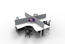 1250 High Grey Fabric Screens. 90 Degree Workstations. Span C Legs