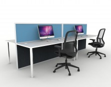1800 Long X 1250 High Screens. Screen Hung Tops With 60mm Round Legs And Desk Brackets