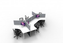 6 Way Cluster. 120 Degree Workstation. Screen Hung With 60mm Round Legs
