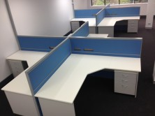 4 Way Cluster Staxis Screens. 1800 Long With Gable Ended 90 Degree Truncated Corner Workstations