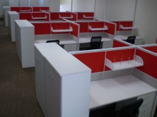 1350 High Screens In 2 Colours. Gable Ended Desks. Drawer Peds. Screen Hung Shelves