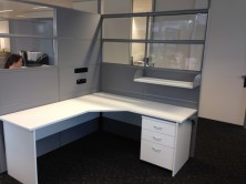 Combination Of Clear Acrylic Tile And Fabric Tile Screens With Ecotech Workstation