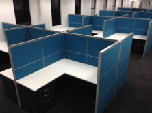 1500 High Staxis Tile Based Screens. 3 X 500mm Fabric Tiles. Ecotech Desks And Returns