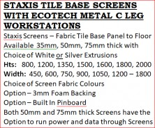 Staxis Screen With Ecotech Metal C Leg Workstation Information