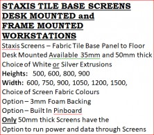 Staxis 35mm Or 50mm Desk Mounted Screens And Frame Mounted Screens