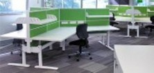 120 Degree Staxis Screens. Screen Hung Shelves. Fitted To Back To Back Workstations
