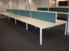 Staxis 500 H X 1800 L Desk Mounted Screens On Metal Single Leg Back To Back Underframe