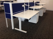 Staxis 50mm Air Tiles With Motion Electric Height Adjustable Desks With Ecotech Tops
