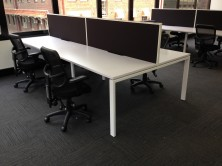 Desk Top Screens 500 High Fitted To Rapid Infinity Profile Leg Workstation