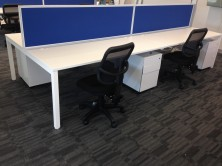 Desk Top Mounted Screens. Made To Order In Choice Of Fabric Colours. White Or Silver Extrusions