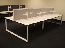 Staxis 50mm Desk Top Screens. 500 High Fitted To Rapid Infinity Loop Angular Workstation Frame