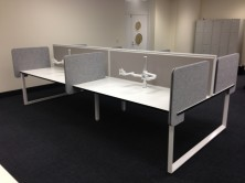 Photo Shows Staxis Desk Top Mounted Screen And Zorb Slide On Dividing Screens