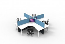 90 Degree Workstation Tops. 1800 X 1800. 60mm Round White Legs. Screen Hung Brackets