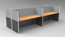 Rapid Span 1250 H Grey Fabric With Charcoal Melamine Below. Beech Top. Desk Mounted Brackets