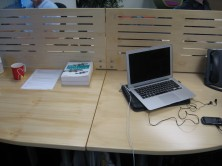 Custom Micro 430 High Slotted Polished Desk Mounted Dividing Panels