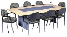 Ecotech 25 Boatshape Table With Vinyl Inlay On Timber H Base. Made To Any Size. Choice Of MM1 MM2 Melamine Colour Ranges