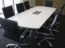Bow End Shape Boardroom Table With Fuel 98 Power Box On Thinking Works I.AM T Leg Base