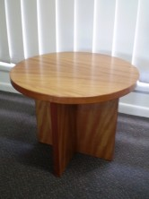 Polished Timber Veneer Coffee Table. Cross Panel Base. 600 Dia