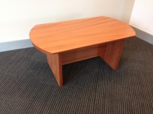 Polished Timber Veneer Bow End Coffee Table. H Base. 900 X 600