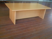 Rectangle Shape Polished Timber Veneer Coffee Table. H Base. 1200 X 600