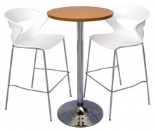 Dry Bar 600 Round Table. Chrome Disc Base. 1070mm High. White Taurus Stools