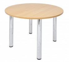 Round Meeting Table. Beech Top. 4 Chrome Round Legs