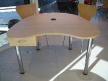 Kidney Shape Sales Desk With Single Drawer On Chrome Round Legs
