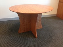 Polished Timber Veneer Round Table On Scallop Cross Panel Base