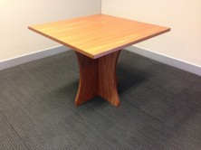 Sqaure Polished Timber Veneer Table On Scallop Cross Form Panel Base