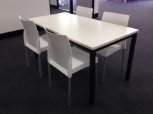 Lunchroom Steel Frame 1500 X 750 Table And Leo Chairs. Choice Of MM1 MM2 Melamine Colours